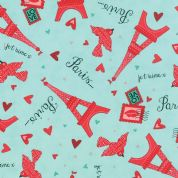 Moda Kiss Kiss by Abi Hall - 4026 - Eiffel Towers on Mint - 35252 14 - Cotton Fabric